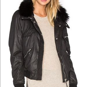 Generation love fox fur bomber jacket